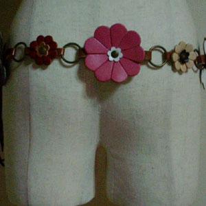 レザー花柄紐ベルト