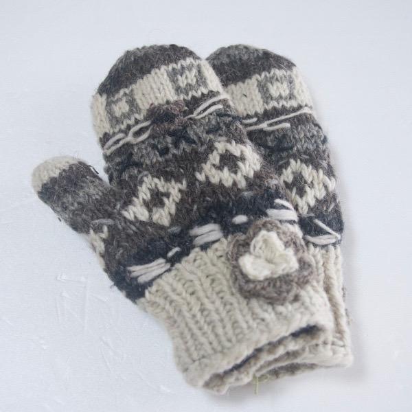 ウールニット花付きミトン手袋