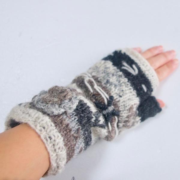 ウールニット花付き指あき手袋