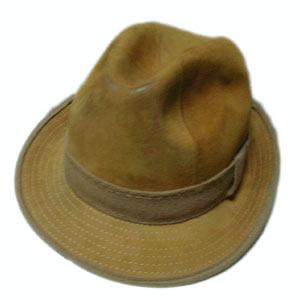 古着レザー中折れ帽子