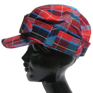チェックワークキャップ帽子