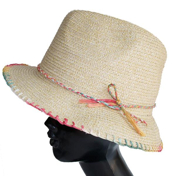 レインボーステッチ中折れ帽子