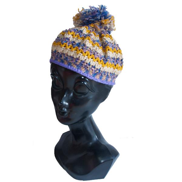 ボンボンボーダーニット帽子