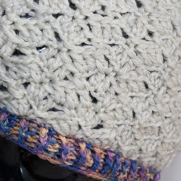 模様編みクロシェニット帽子