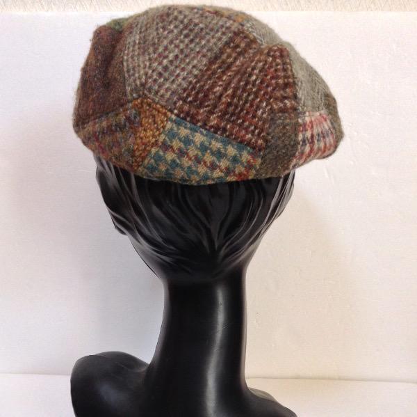 ハリスツイードパッチワークハンチング帽子