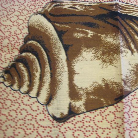貝殻柄カンガ布