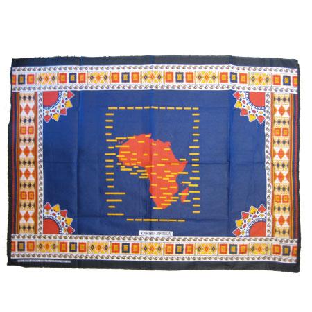 アフリカ大陸柄カンガ布