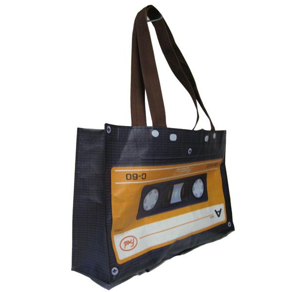 カセットテープ柄ショッパーバッグ