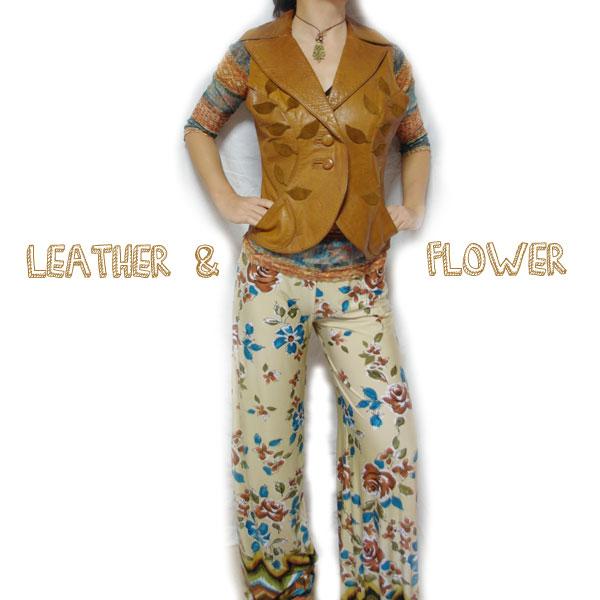 コーディネート 花柄パンツ