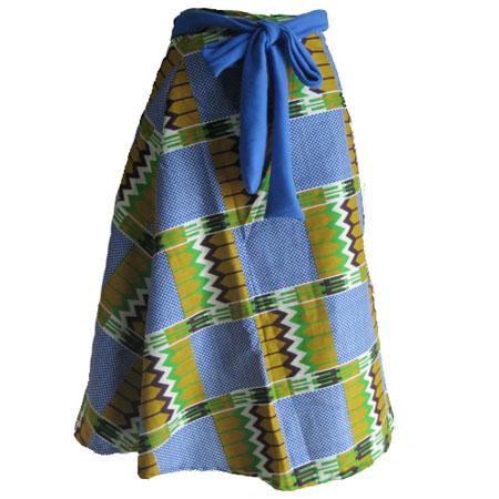 アフリカンバティック巻きスカート