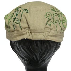 葉っぱ刺繍ワークャップ