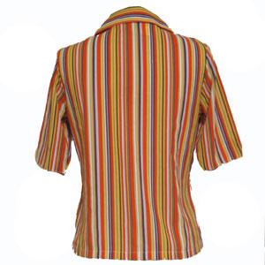 オレンジボーダー半袖シャツ
