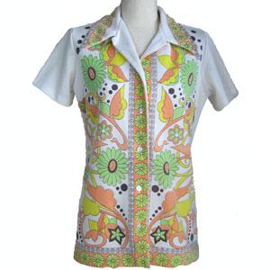 古着幾何学模様半袖シャツ