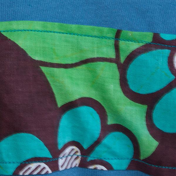 ブルーアフリカンバティックTシャツ