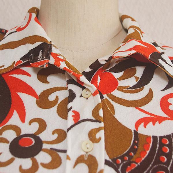 古着レトロ花柄半袖シャツ