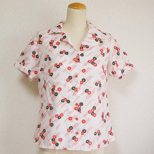 古着レトロ小花柄半袖シャツ
