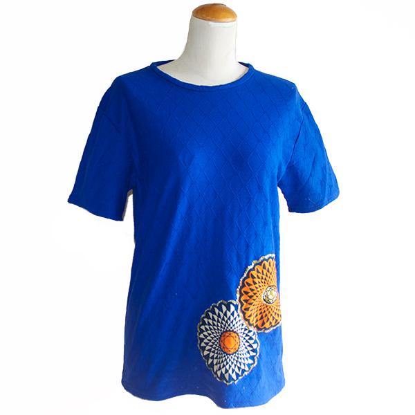 メンズ花柄パッチワークTシャツ