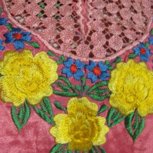 花柄刺繍エスニックカフタンワンピース