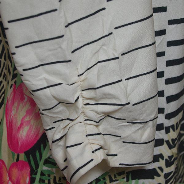 レトロボーダー花柄七分袖ワンピース