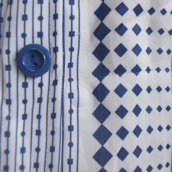 フランス古着パターン柄半袖シャツワンピース