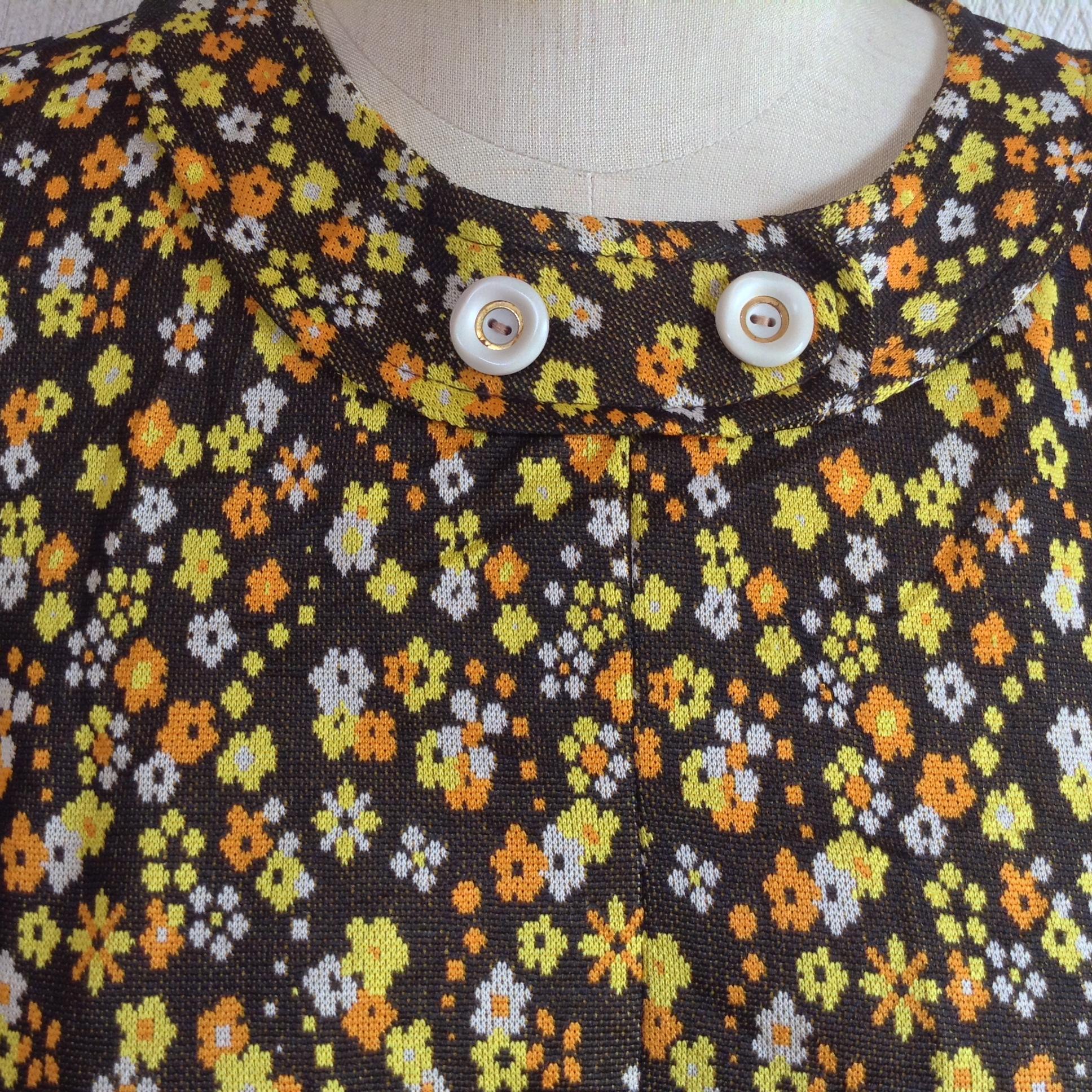 フランス古着小花柄半袖ワンピース