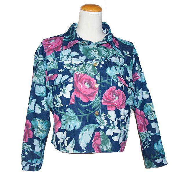 花柄デニムジャケット