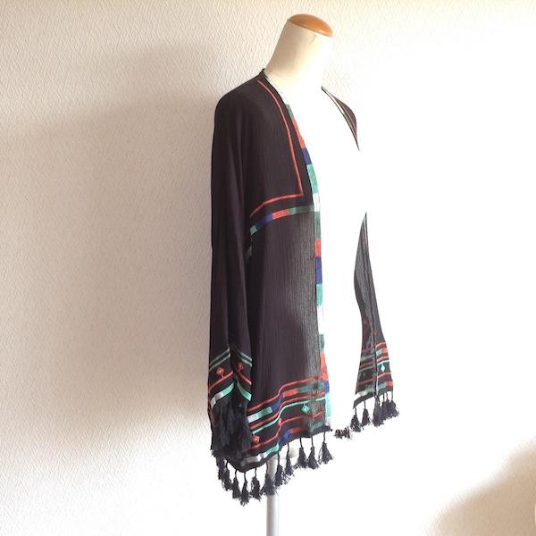 フリンジ付きエスニック刺繍カーディガン