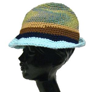 ハンドメイドニット中折帽子