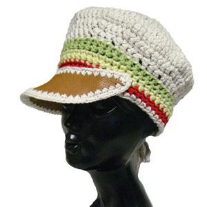 ハンドメイドニットラスタキャップ帽子