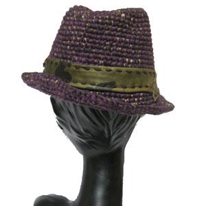 ハンドメイドニット中折れ帽子