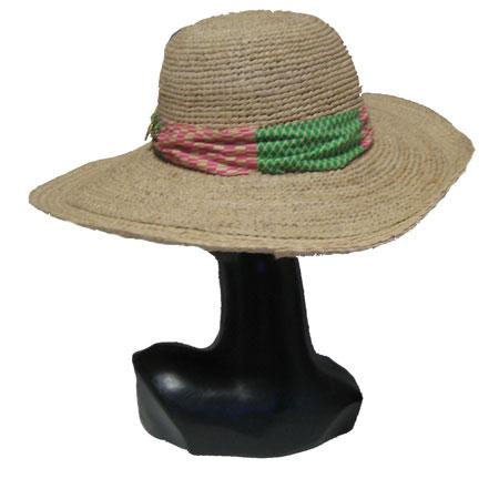 ハンドメイドつば広麦わら帽子
