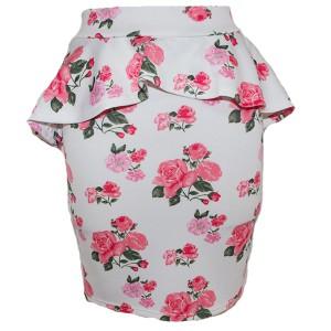 花柄ペプラムスカート