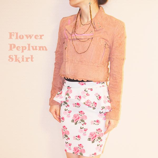 花柄ペプラムスカート コーディネート