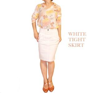 ホワイトデニムタイトスカート コーディネート