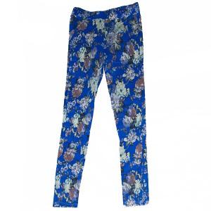 ブルー花柄レギンスパンツ