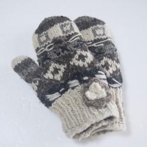 ウール花付きミトン手袋