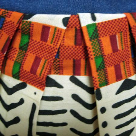 バティックデニムボックスプリーツスカート