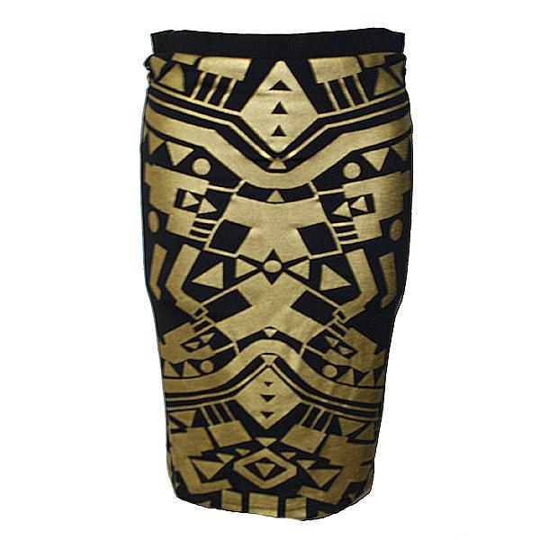 ゴールド箔タイトスカート