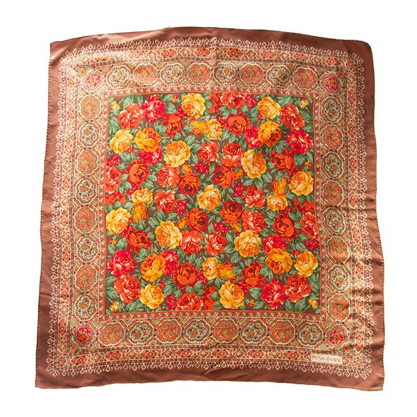 イヴサンローラン花柄シルクスカーフ
