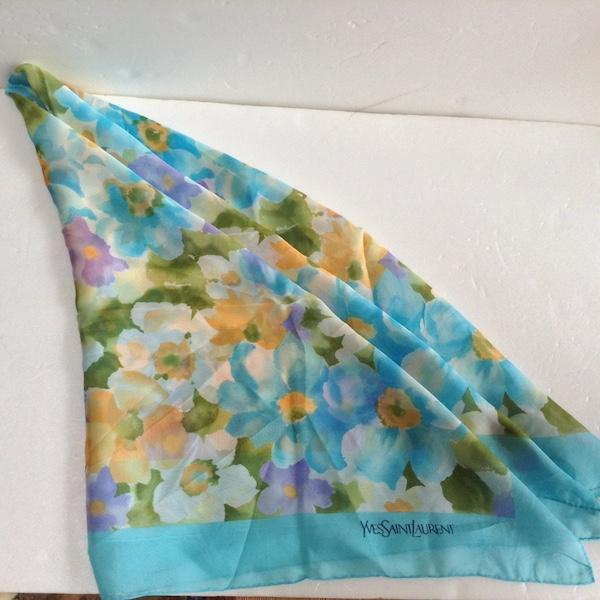 イヴサンローラン花柄シルクシフォンスカーフ